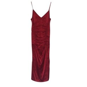 Helmut Lang Red Gathered Cocktail Dress
